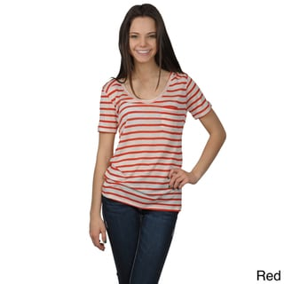 Journee Collection Juniors Striped Scoop Neck Tee