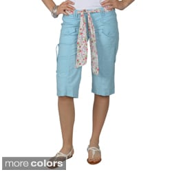 Journee Collection Juniors Belted Multi-pocket Cargo Shorts