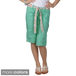 Journee Collection Juniors Belted Multi-pocket Green and Lavender Cargo Shorts