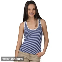 Journee Collection Juniors Striped Crochet Back Tank Top