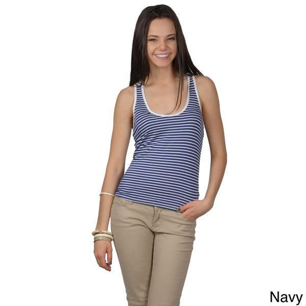 Journee Collection Juniors Striped Crochet Back Tank Top
