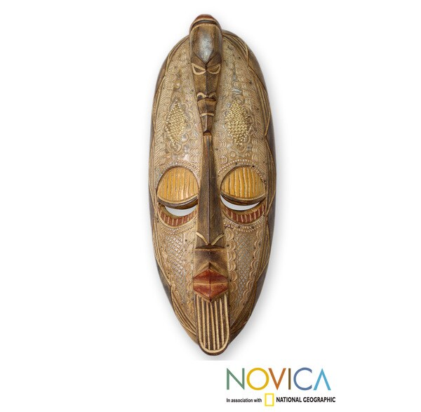 Sese Wood 'Two Heads Are Better than One' African Mask (Ghana)