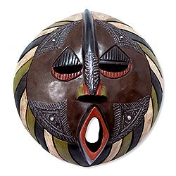Handcrafted Sese Wood 'Harvest Increase' African Mask (Ghana)