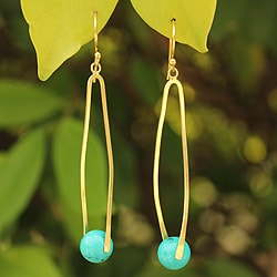 Handcrafted Gold Overlay 'Twist and Thai' Calcite Earrings (Thailand)