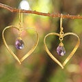 Gold Overlay 'Love's Secrets' Amethyst Earrings (Thailand)