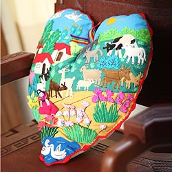 Cotton Blend 'I Love Our Andean Farm' Applique Throw Pillow (Peru)