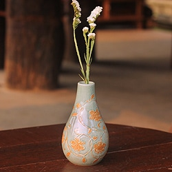 Handcrafted Celadon Ceramic 'Orchid Vine' Vase (Thailand)
