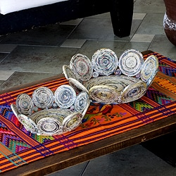 Set of 2 Handcrafted Recycled Paper 'Floral Spin' Baskets (Guatemala)