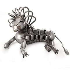 Handcrafted Recycled Metal 'Lion Majesty' Sculpture (Mexico)