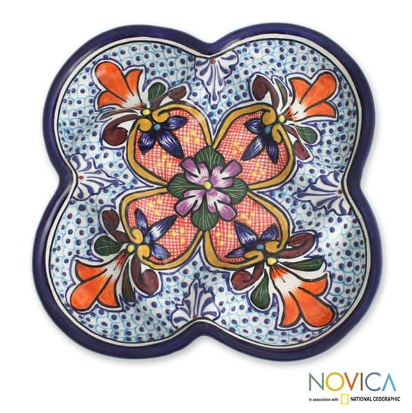 Talavera-style Ceramic 'A Taste of Mexico' Appetizer Plate (Mexico)