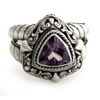 Handcrafted Sterling Silver 'Sorceress' Amethyst Ring (Indonesia)