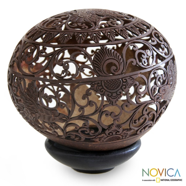 Handcrafted Coconut Shell 'Balinese Eagle' Sculpture (Indonesia)