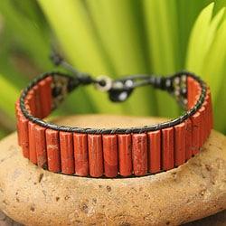 Handcrafted Leather 'Scarlet Earth' Multi-gemstone Bracelet (Thailand)