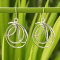 Handcrafted Sterling Silver 'Twirling Ribbons' Earrings (Thailand)