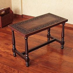 Mohena Wood and Leather 'Colonial Foliage' Coffee Table (Peru)