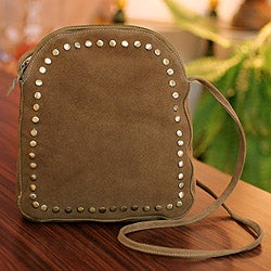 Suede Leather 'Sands of Thar' Medium Shoulder Bag (India)