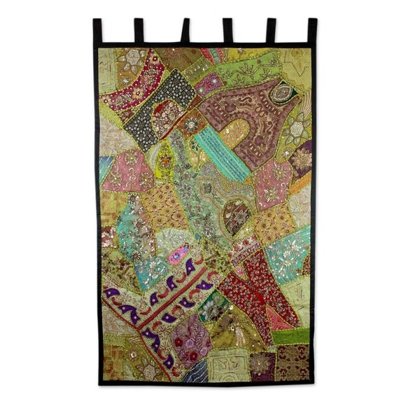 Handcrafted Cotton 'Jewels of India' Beaded Wall Hanging (India)