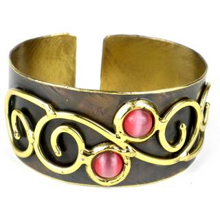 Handmade Pink Tiger Eye and Brass Scroll-work Cuff (South Africa)