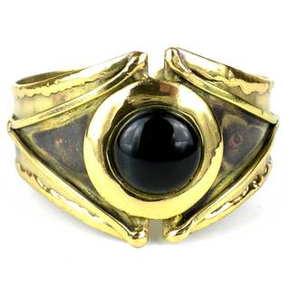 Handmade Reborn Blue Tiger Eye Brass Cuff (South Africa)