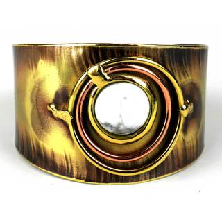 Handmade Concentric Howlite Brass and Copper Cuff (South Africa)