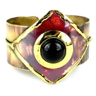 Handmade Onyx Brass and Copper Cuff (South Africa)