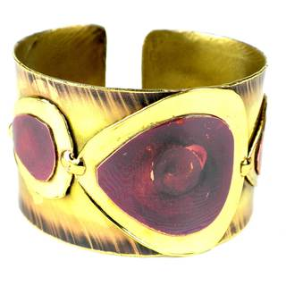 Handcrafted Red Copper and Brass Droplets Cuff (South Africa)