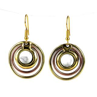Handmade Concentric Howlite Brass and Copper Earrings (South Africa)
