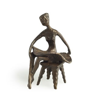 Ballerina Sitting with Legs Crossed Bronze Sculpture