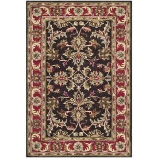 Handmade Heritage Kerman Chocolate Brown/ Red Wool Rug (4' x 6')