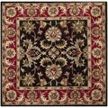 Handmade Heritage Kerman Chocolate Brown/ Red Wool Rug (6' Square)