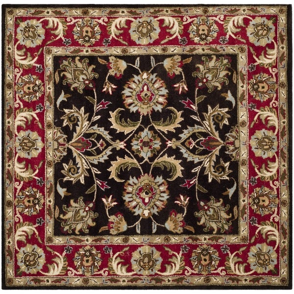 Safavieh Handmade Heritage Kerman Chocolate Brown/ Red Wool Rug (8' Square)