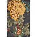 Safavieh Handmade Jardin Black/Multicolor Contemporary Floral Wool Rug (3' x 5')