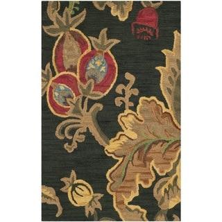 Safavieh Handmade Jardin Black/ Multi Wool Rug (3' x 5')