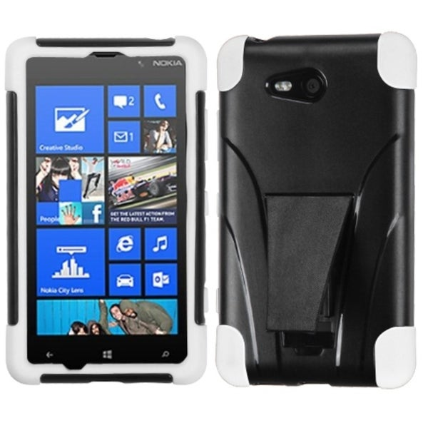 INSTEN White Inverse Advanced Armor Stand Phone Case Cover for Nokia 820 Lumia 820