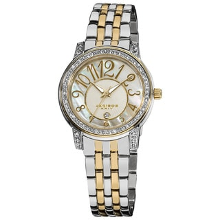 Akribos XXIV Women's Silver-Tone Stainless Steel Sparkle Mother-of-Pearl Quartz Watch