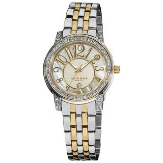 Akribos XXIV Women's Silver-Tone Stainless Steel Sparkle Mother-of-Pearl Quartz Watch