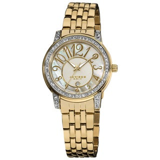 Akribos XXIV Women's Goldtone Stainless-Steel Sparkle Mother-of-Pearl Quartz Watch