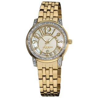 Akribos XXIV Women's Goldtone Stainless Steel Sparkle Mother-of-Pearl Quartz Watch