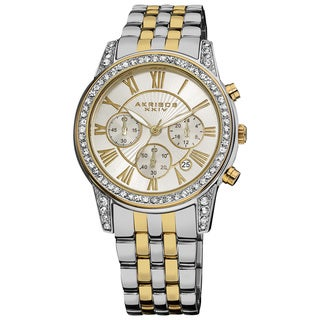 Akribos XXIV Women's Stainless Steel Crystal Chronograph Bracelet Watch