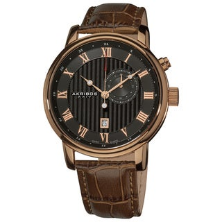 Akribos XXIV Men's Stainless Steel Brown Leather Strap Swiss Collection Date Watch