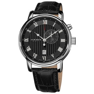 Akribos XXIV Men's Stainless Steel Leather Strap Swiss Collection Date Watch