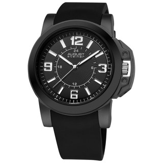 August Steiner Men's Black Quartz Sport Silicon-Strap Watch