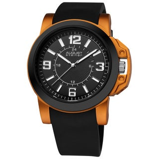 August Steiner Men's Black/Orange Quartz Sport Silicon-Strap Watch