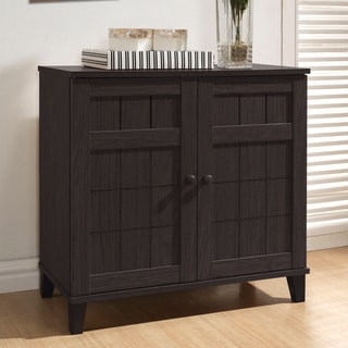 Baxton Studio Glidden Dark Brown Wood Short Shoe Cabinet