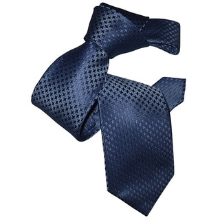 Dmitry Men's Blue Houndstooth Patterned Italian Silk Tie