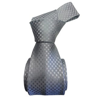 Dmitry Men's Light Grey Houndstooth Patterned Italian Silk Tie