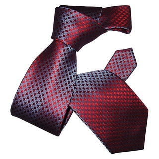 Dmitry Men's Blue and Red Houndstooth Patterned Italian Silk Tie