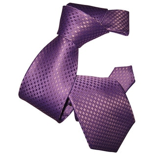 Dmitry Men's Light Purple Houndstooth Patterned Italian Silk Tie