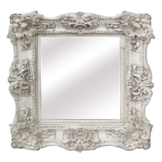 Anitque White Traditional 34-inch Wall Mirror