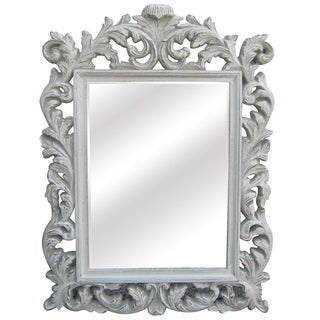 Antique White Traditional Rectangular 32 inch Portrait Wall Mirror